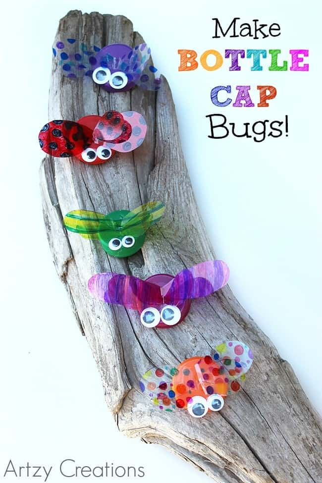 Cute Bottle Cap Bugs For Your Garden