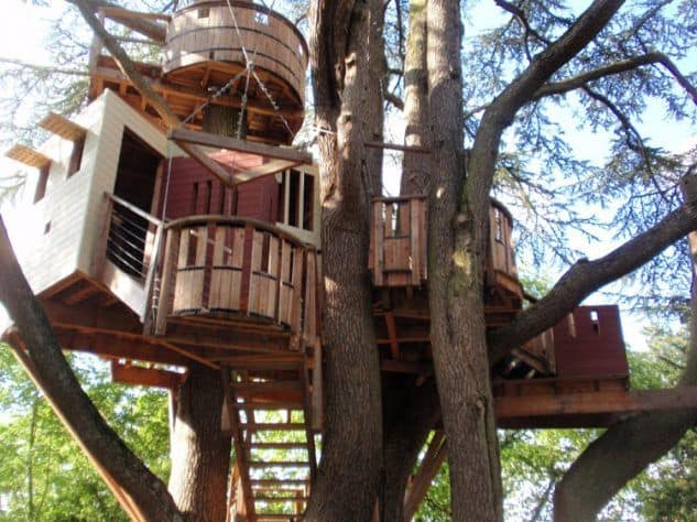 Huge treehouse with crows nest