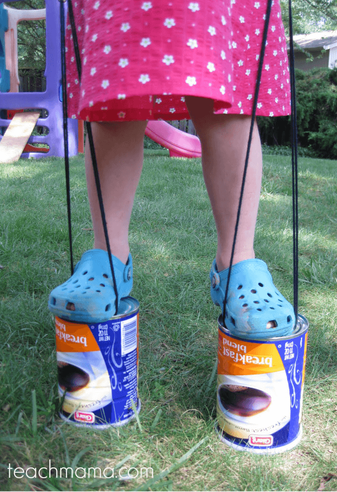 Budget-Friendly Stilts For Kids Using Coffee Cans!