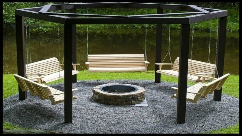 A DIY Fire-Pit Wooden Bench Swing Set