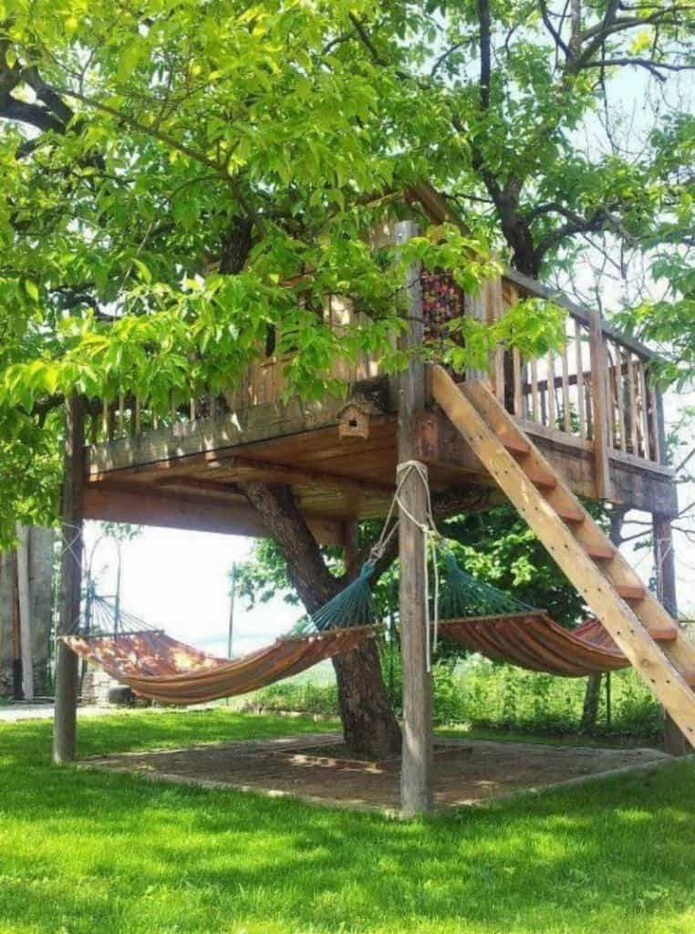 Playhouse with hammocks