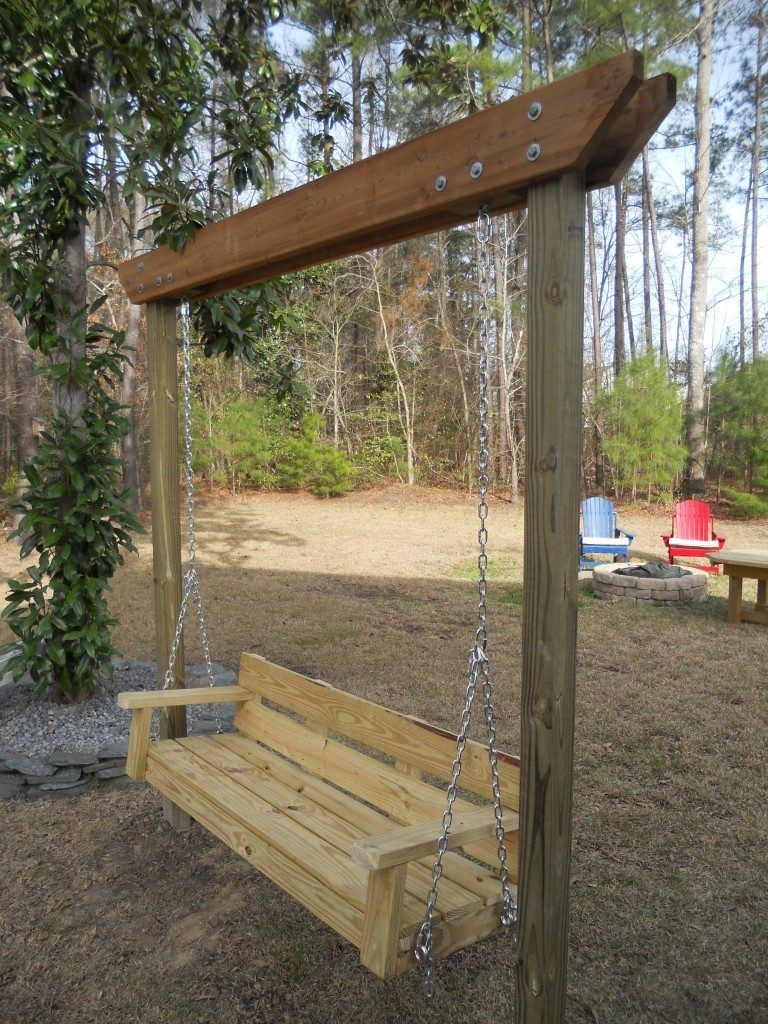 A DIY Recycled Bench Swing Set