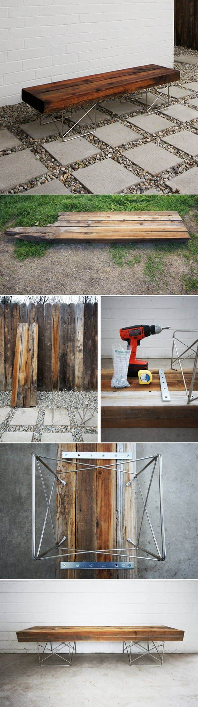 Gorgeous DIY Bench Using An Old Fence