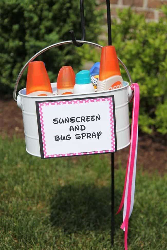 Sunscreen and bugspray bucket