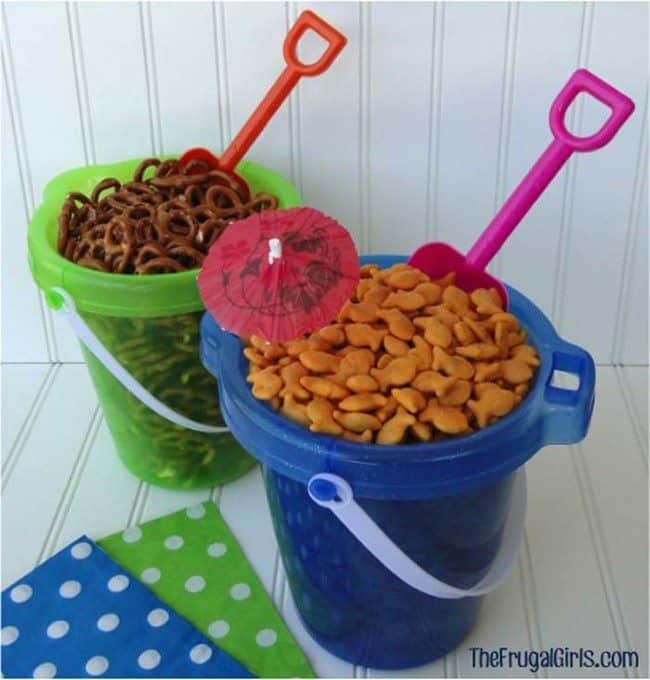 Beach theme party buckets