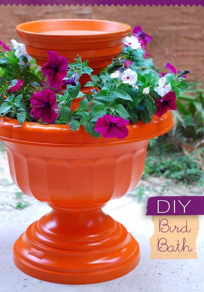 A DIY Friendly Planter And Bird Bath Combination