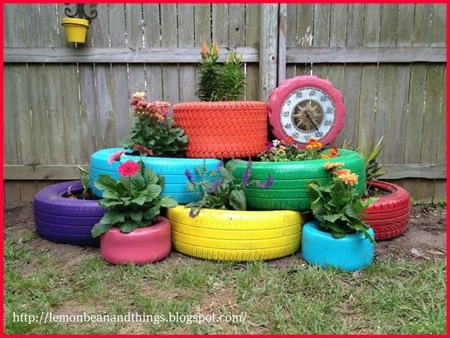 Recycling Old Tires Into Beautiful Colorful Planters For Your Garden
