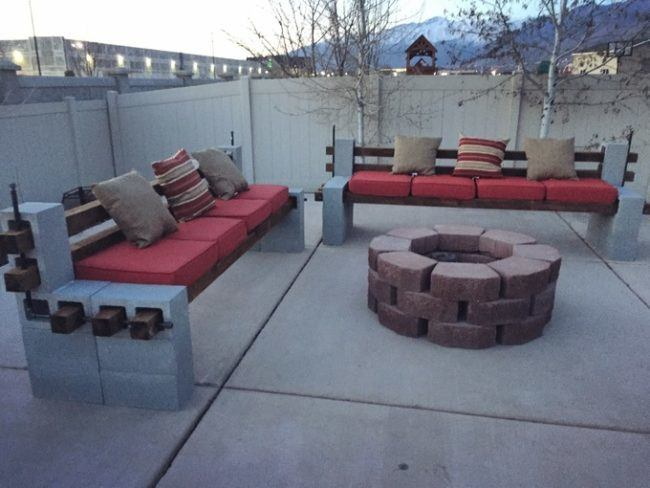 Masonary fire pit with cinder block furniture