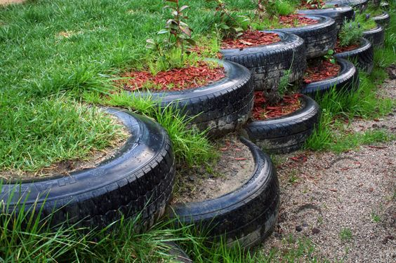 Recycled tires used as planters