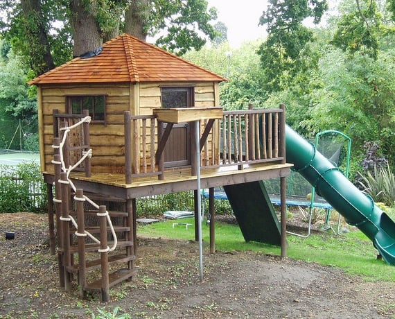 Treehouse with playground and super-slide