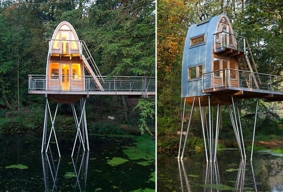 Treehouse on stilts over water