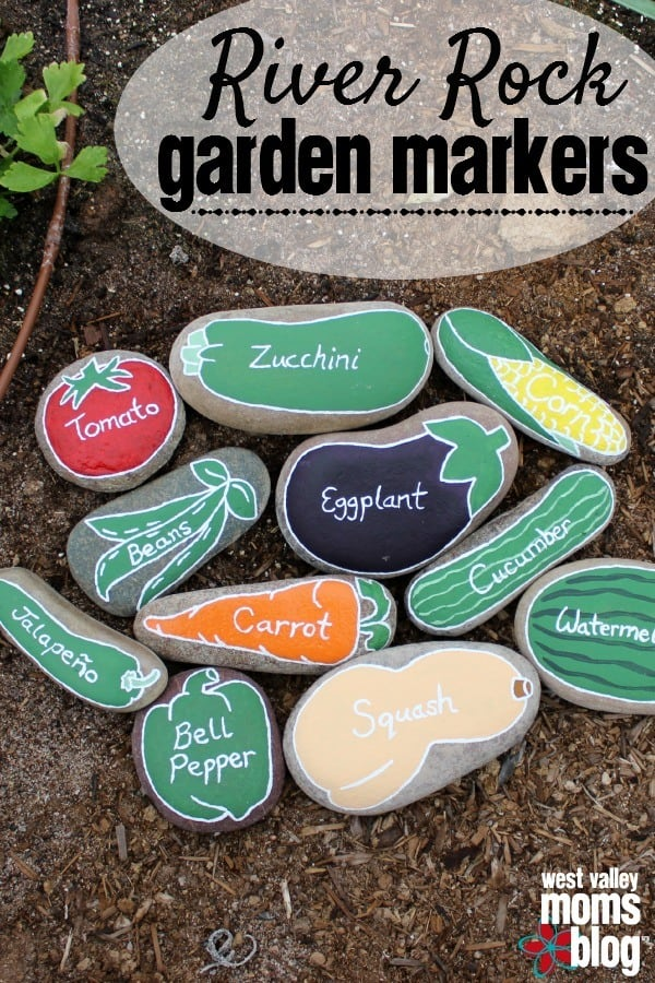 Colorful DIY River Rock Garden Markers