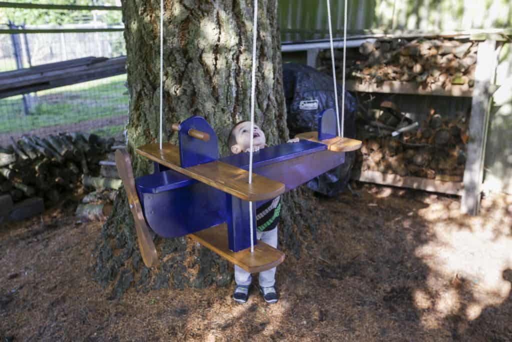 Do it yourself wooden airplane swing