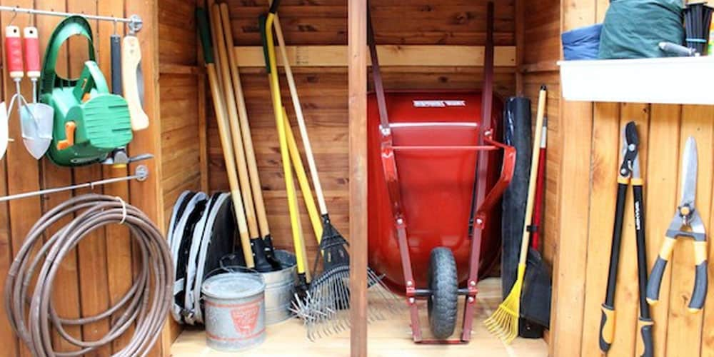 garden tools inside a shed