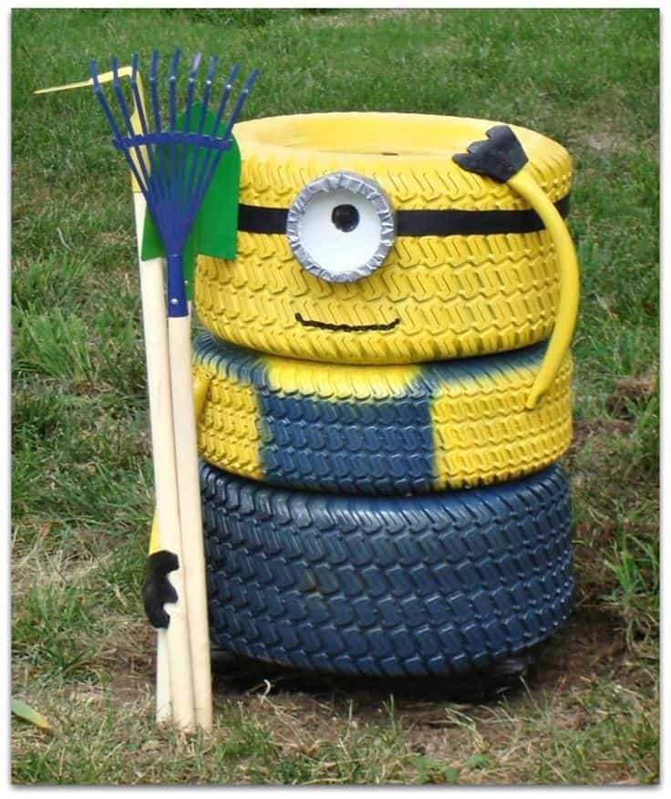 minion design from recycled tire