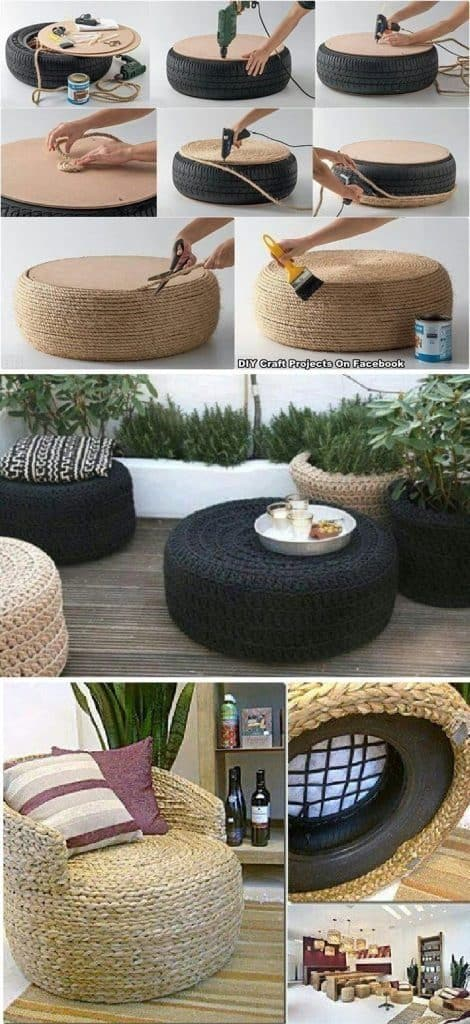 recycled tire armchair
