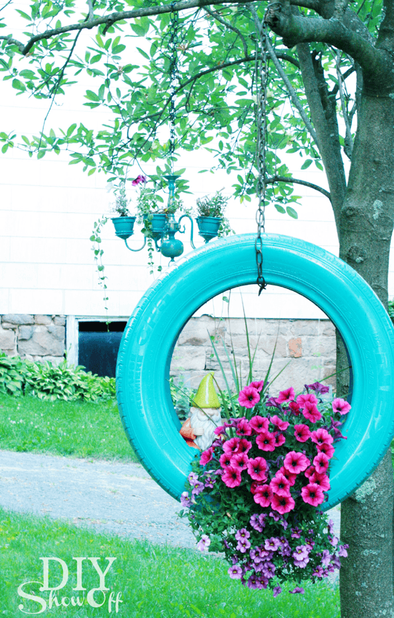 recycled tire decor for garden