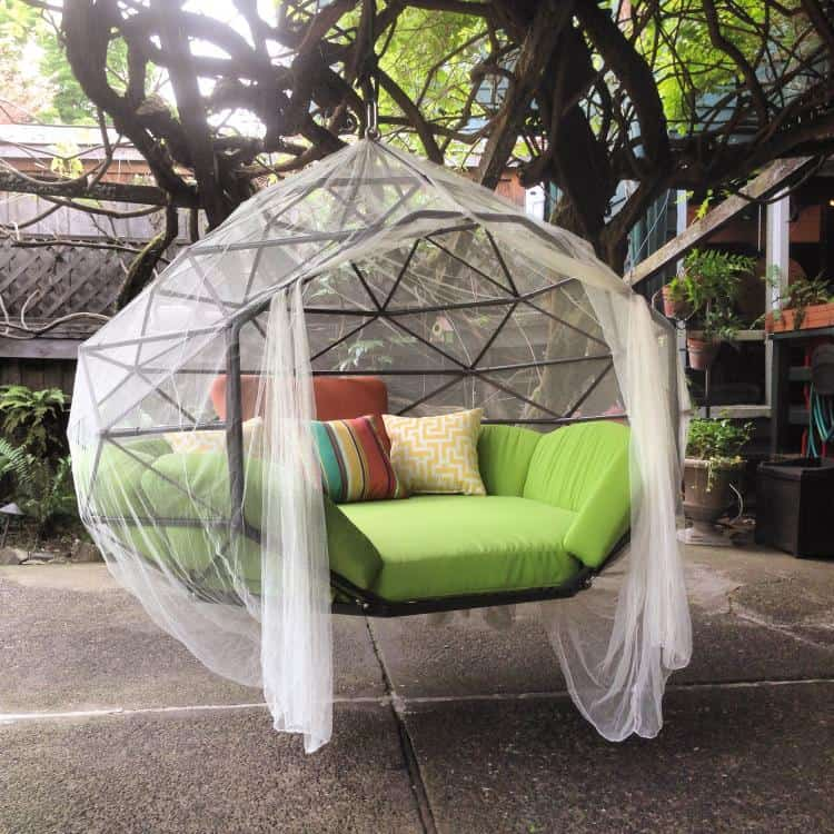 relaxing caged hammock