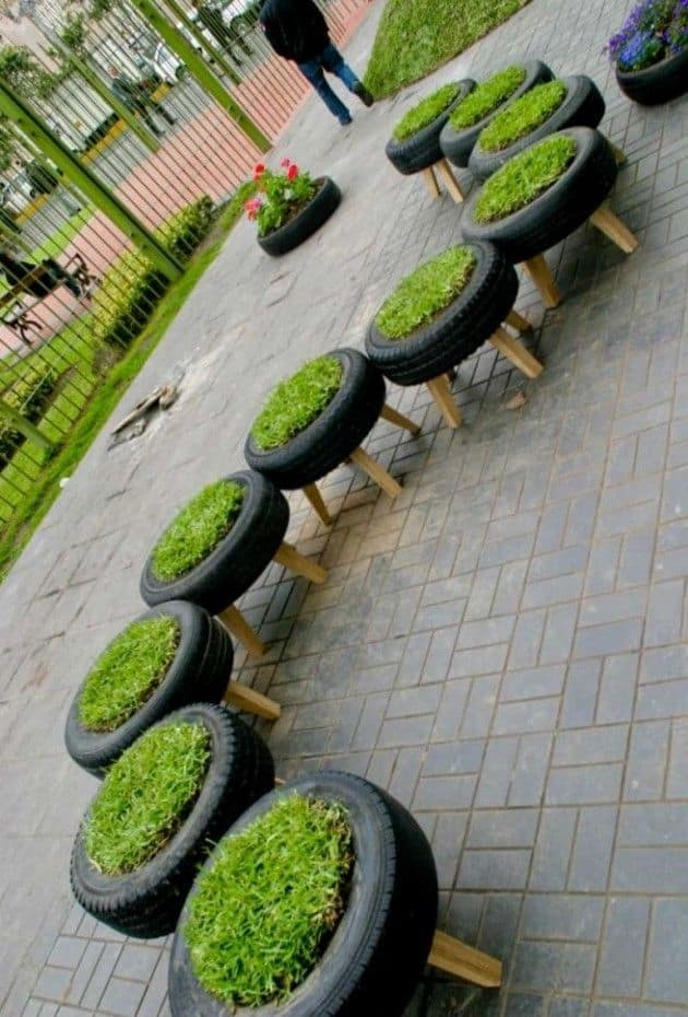 Recycled Tire Garden Planters