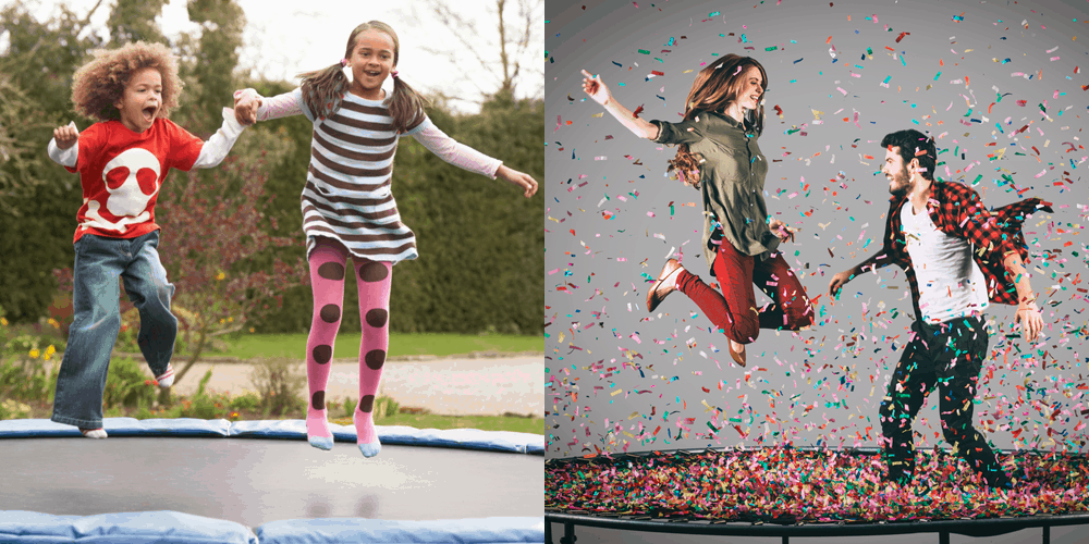 kids and adult on trampoline