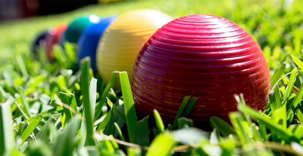 croquet ball on the grass