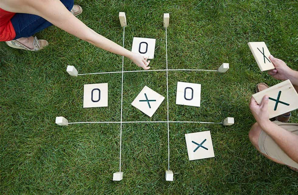 giant tic tac toe on the grass