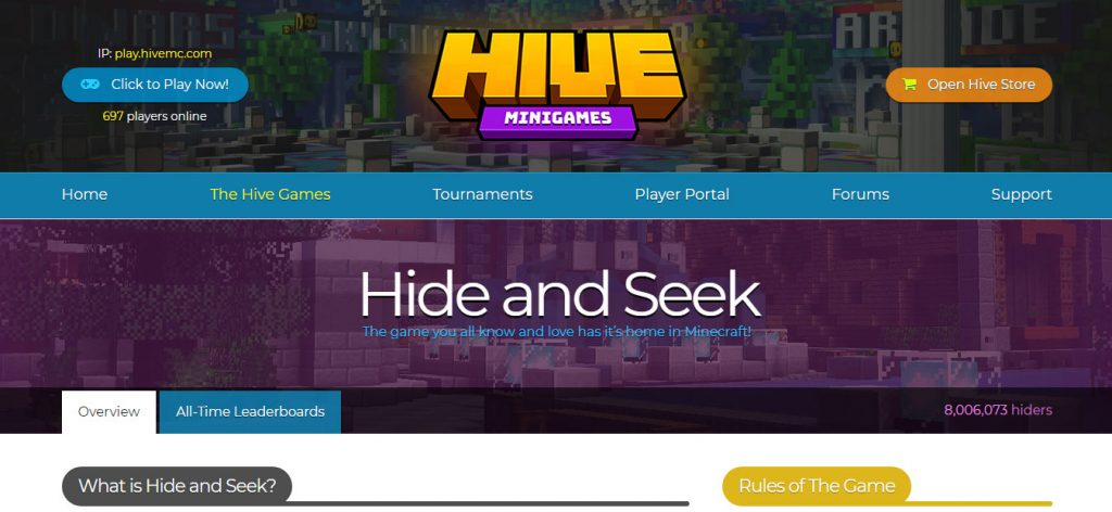 hive hide and seek mini games