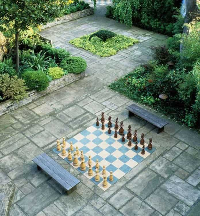 Peaceful courtyard with giant chessboard