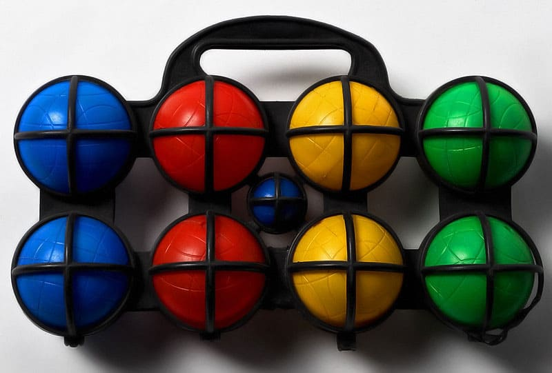 colorful bocce ball set with carrier