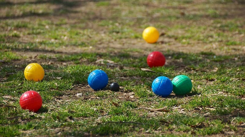 four colors bocce balls on the ground