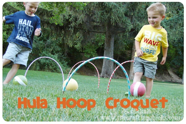 Giant Croquet with Hula Hoops
