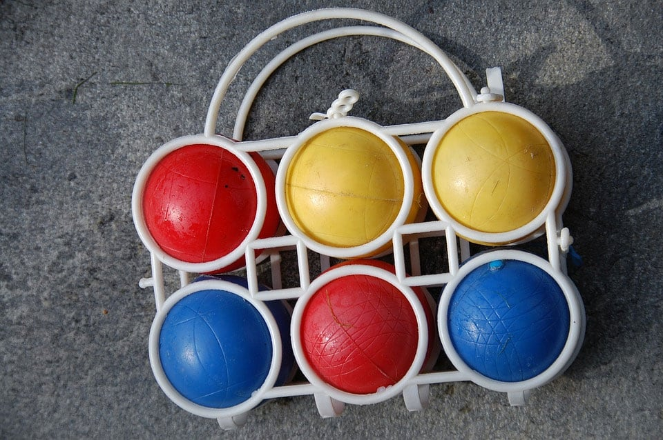 plastic bocce balls with plastic carrier