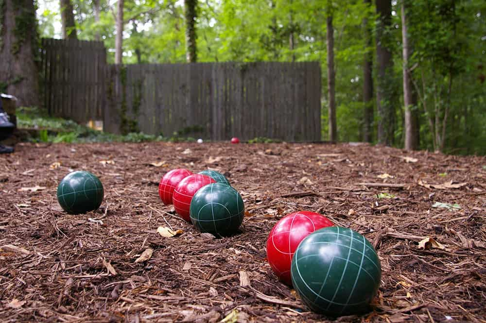 polymer bocce balls on the ground
