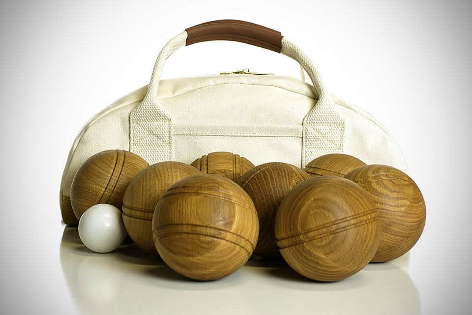 wooden bocce balls with bag