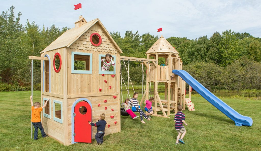 CedarWorks Playhouse 985 with kids playing on it