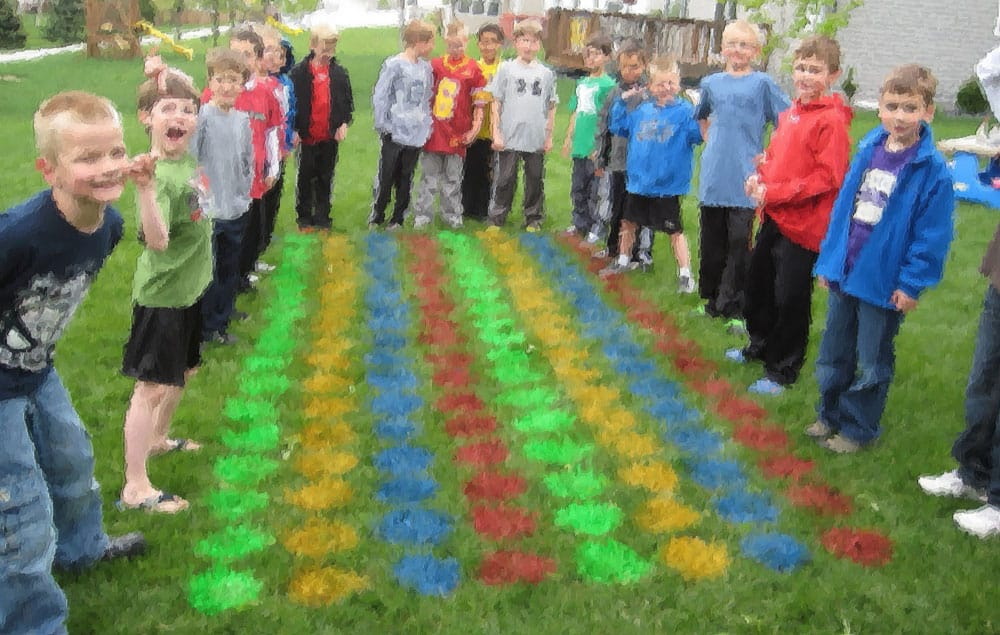 Kids playing Giant Lawn Twister