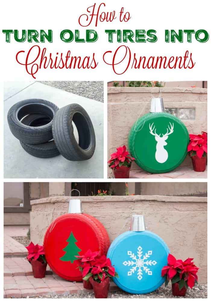 How to turn old tires into giant Christmas tree ornaments