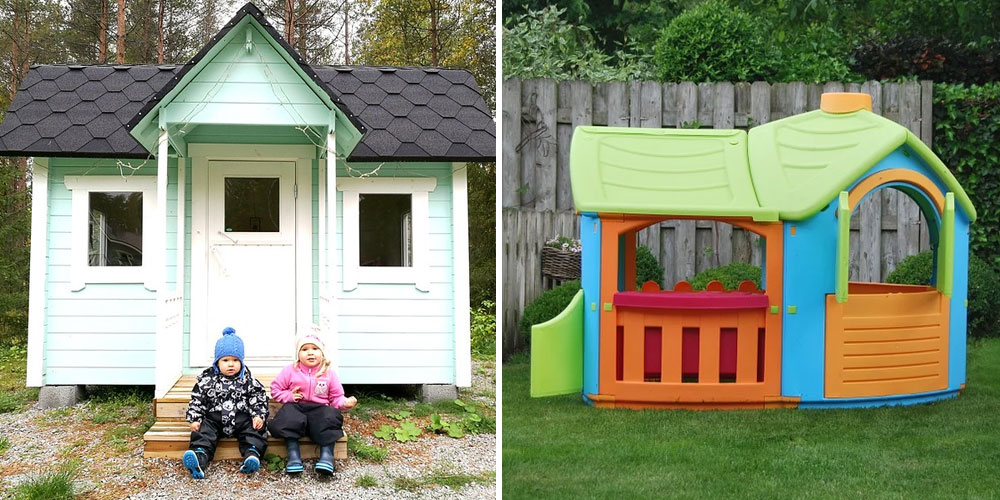 wooden and plastic playhouses