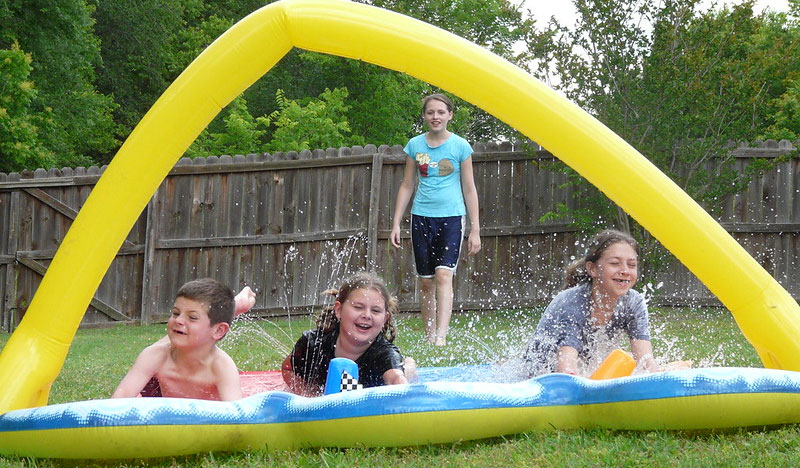 triple slip and slide with bigger kids